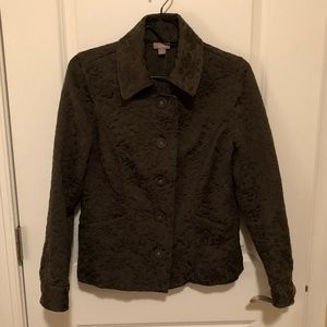 J. Jill Quilted Button Down Olive Green Jacket